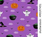halloween pattern on a purple... | Shutterstock . vector #490197451