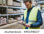 young man shopping or working... | Shutterstock . vector #490198027