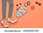 fashion woman accessories set.... | Shutterstock . vector #490200745