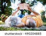 lovely senior couple resting at ... | Shutterstock . vector #490204885