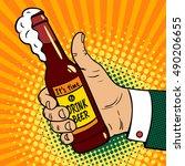 it's time to drink beer. pop... | Shutterstock .eps vector #490206655