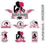 set logo of dancing couple.... | Shutterstock .eps vector #490208209