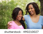mother and daughter talking.... | Shutterstock . vector #490210027