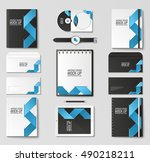 corporate identity template set.... | Shutterstock .eps vector #490218211