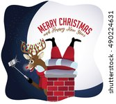 merry christmas reindeer takes... | Shutterstock .eps vector #490224631