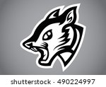 squirrel head black shield logo ... | Shutterstock .eps vector #490224997