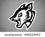 squirrel head black shield logo ... | Shutterstock .eps vector #490224997