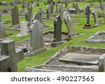 the headstones and graves of an ... | Shutterstock . vector #490227565