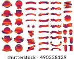 banner red vector icon set on... | Shutterstock .eps vector #490228129