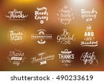 thanksgiving day typography set.... | Shutterstock .eps vector #490233619