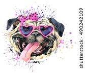 watercolor cute dog...   Shutterstock . vector #490242109