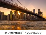 Sunset In New York City With A...