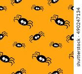 seamless pattern with funny... | Shutterstock .eps vector #490247134