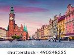 colorful evening scene on... | Shutterstock . vector #490248235