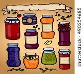 jam. banks. berries  fruit.... | Shutterstock .eps vector #490254685