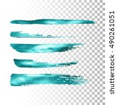 azure metallic paint brush... | Shutterstock .eps vector #490261051