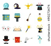 wizard magic wand icons set.... | Shutterstock .eps vector #490273474