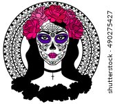 girl with sugar skull makeup.... | Shutterstock . vector #490275427