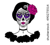 girl with sugar skull makeup.... | Shutterstock . vector #490275514