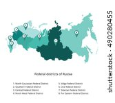 russia map outline and... | Shutterstock .eps vector #490280455