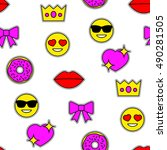 emoticons seamless pattern with ...   Shutterstock .eps vector #490281505