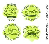 vector set of eco badges with... | Shutterstock .eps vector #490282549