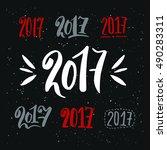 greeting card design template... | Shutterstock .eps vector #490283311