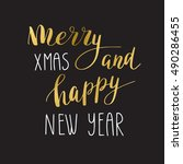 merry christmas and happy new... | Shutterstock .eps vector #490286455