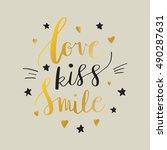 love kiss smile  decorative... | Shutterstock .eps vector #490287631