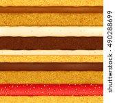 sponge cake with assorted... | Shutterstock .eps vector #490288699
