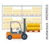 vector illustration of forklift ... | Shutterstock .eps vector #490290511