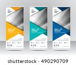 roll up banner stand template... | Shutterstock .eps vector #490290709