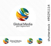abstract global logo with arrow ... | Shutterstock .eps vector #490291114