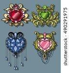 gemstone heart set gem diamond... | Shutterstock .eps vector #490291975