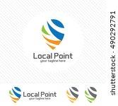pin locator logo design... | Shutterstock .eps vector #490292791