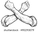 crossed arms with fists   hand... | Shutterstock .eps vector #490293079