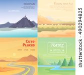 set cute cartoon landscapes... | Shutterstock .eps vector #490294825