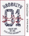 college new york typography  t... | Shutterstock .eps vector #490295365