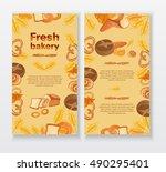 bakery cafe menu design... | Shutterstock .eps vector #490295401