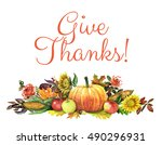 thanksgiving background with... | Shutterstock . vector #490296931