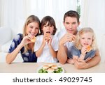 lively family eating burgers in ... | Shutterstock . vector #49029745