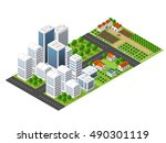 isometric perspective city | Shutterstock . vector #490301119