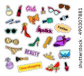 fashion patch badges. fashion... | Shutterstock .eps vector #490307881