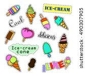 fashion patch badges. ice cream ... | Shutterstock .eps vector #490307905