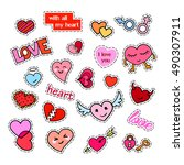 fashion patch badges. hearts... | Shutterstock .eps vector #490307911
