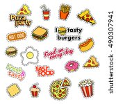 fashion patch badges. fast food ... | Shutterstock .eps vector #490307941