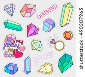 fashion patch badges. diamonds... | Shutterstock .eps vector #490307965