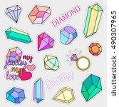 fashion patch badges. diamonds... | Shutterstock .eps vector #490307965