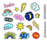 fashion patch badges. sky set.... | Shutterstock .eps vector #490308001