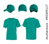 sportswear teal color t shirt... | Shutterstock .eps vector #490309117